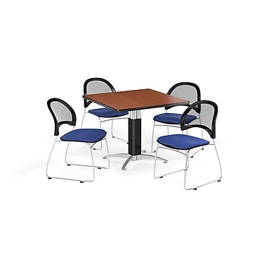 OFM 36 Inch Square Mesh Base Cherry Table and Four Royal Blue Chairs (PKG-BRK-174-0010)