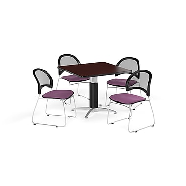 OFM 36 Inch Square Mesh Base Mahogany Table and Four Plum Chairs (PKG-BRK-174-0045)