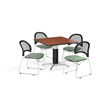 OFM 36 Inch Square Mesh Base Cherry Table and Four Sage Green Chairs (PKG-BRK-174-0007)