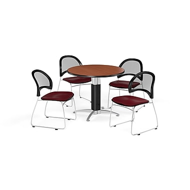 OFM 42 Inch Round Mesh Base Cherry Table and Four Burgundy Chairs (PKG-BRK-175-0011)