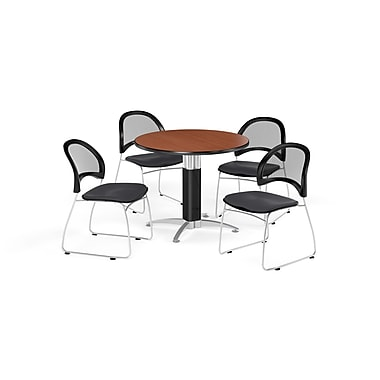 OFM 42 Inch Round Mesh Base Cherry Table and Four Slate Gray Chairs (PKG-BRK-175-0012)