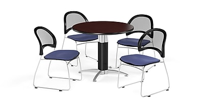 OFM 42 Inch Round Mesh Base Mahogany Table and Four Colonial Blue Chairs (PKG-BRK-175-0036)
