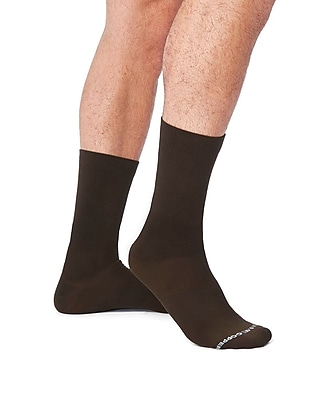 Tommie Copper Men's Core Compression MicroModal® Crew Socks Brown Size 6-8.5 (1729MR)