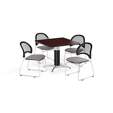 OFM 42 Inch Square Mesh Base Mahogany Table and Four Putty Chairs (PKG-BRK-176-0046)