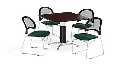 OFM 42 Inch Square Mesh Base Mahogany Table and Four Forest Green Chairs (PKG-BRK-176-0047)