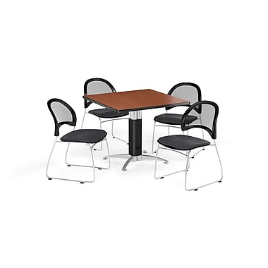 OFM 42 Inch Square Mesh Base Cherry Table and Four Slate Gray Chairs (PKG-BRK-176-0012)