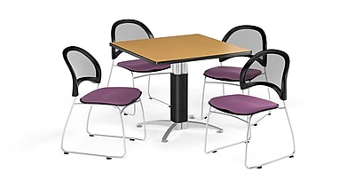 OFM 42 Inch Square Mesh Base Oak Table and Four Plum Chairs (PKG-BRK-176-0061)