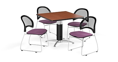 OFM 42 Inch Square Mesh Base Cherry Table and Four Plum Chairs (PKG-BRK-176-0013)