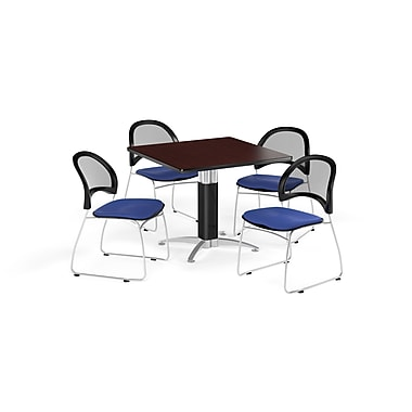 OFM 42 Inch Square Mesh Base Mahogany Table and Four Royal Blue Chairs (PKG-BRK-176-0042)