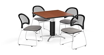 OFM 42 Inch Square Mesh Base Cherry Table and Four Putty Chairs (PKG-BRK-176-0014)