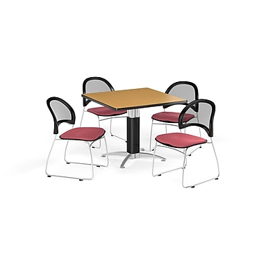 OFM 42 Inch Square Mesh Base Oak Table and Four Coral Pink Chairs (PKG-BRK-176-0056)