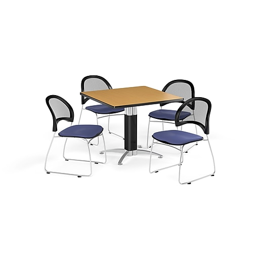 OFM 42 Inch Square Mesh Base Oak Table and Four Colonial Blue Chairs (PKG-BRK-176-0052)