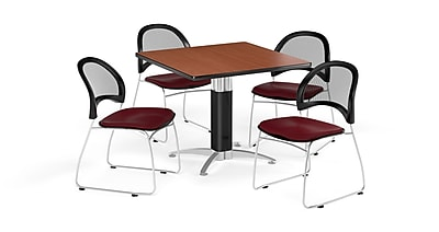 OFM 42 Inch Square Mesh Base Cherry Table and Four Burgundy Chairs (PKG-BRK-176-0011)