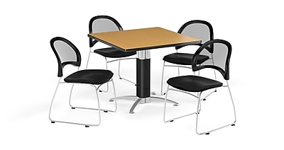 OFM 42 Inch Square Mesh Base Oak Table and Four Black Chairs (PKG-BRK-176-0064)