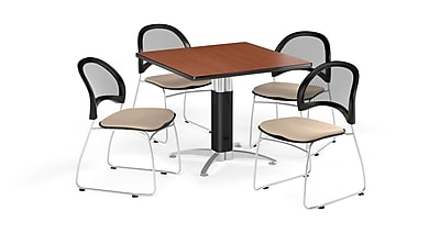 OFM 42 Inch Square Mesh Base Cherry Table and Four Khaki Chairs (PKG-BRK-176-0009)