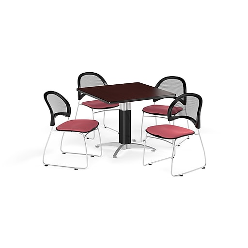 OFM 42 Inch Square Mesh Base Mahogany Table and Four Coral Pink Chairs (PKG-BRK-176-0040)