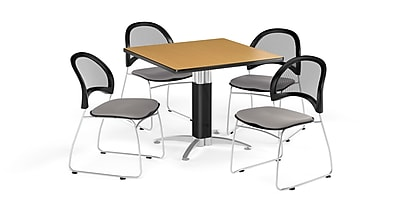 OFM 42 Inch Square Mesh Base Oak Table and Four Putty Chairs (PKG-BRK-176-0062)