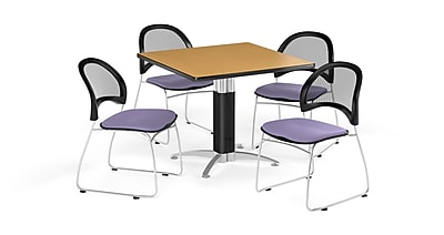 OFM 42 Inch Square Mesh Base Oak Table and Four Lavender Chairs (PKG-BRK-176-0050)