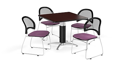 OFM 42 Inch Square Mesh Base Mahogany Table and Four Plum Chairs (PKG-BRK-176-0045)