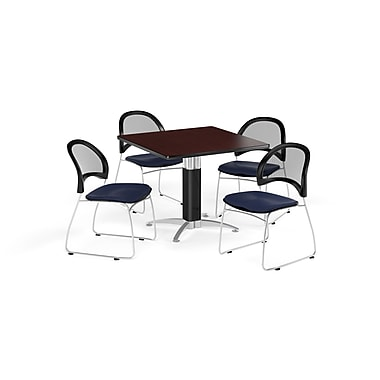 OFM 42 Inch Square Mesh Base Mahogany Table and Four Navy Chairs (PKG-BRK-176-0035)