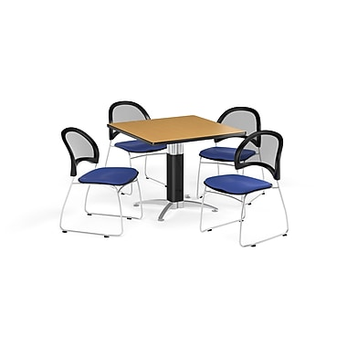 OFM 42 Inch Square Mesh Base Oak Table and Four Royal Blue Chairs (PKG-BRK-176-0058)