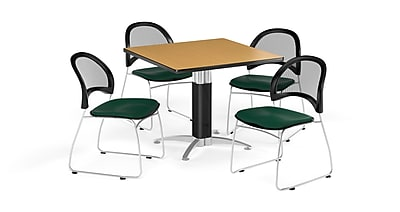 OFM 42 Inch Square Mesh Base Oak Table and Four Forest Green Chairs (PKG-BRK-176-0063)