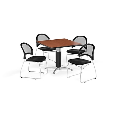 OFM 42 Inch Square Mesh Base Cherry Table and Four Black Chairs (PKG-BRK-176-0016)