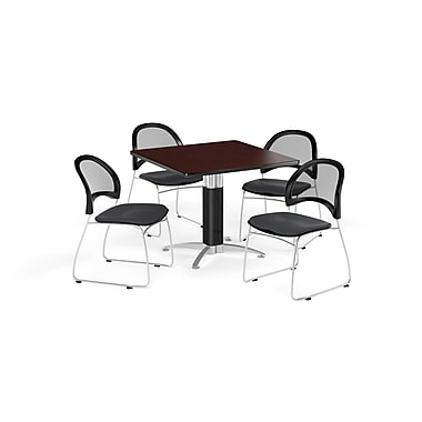OFM 42 Inch Square Mesh Base Mahogany Table and Four Slate Gray Chairs (PKG-BRK-176-0044)