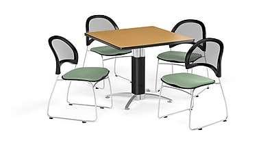 OFM 42 Inch Square Mesh Base Oak Table and Four Sage Green Chairs (PKG-BRK-176-0055)
