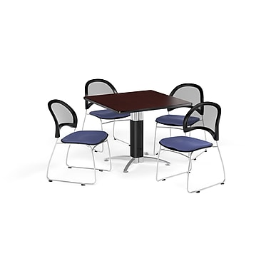 OFM 42 Inch Square Mesh Base Mahogany Table and Four Colonial Blue Chairs (PKG-BRK-176-0036)