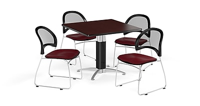 OFM 42 Inch Square Mesh Base Mahogany Table and Four Burgundy Chairs (PKG-BRK-176-0043)