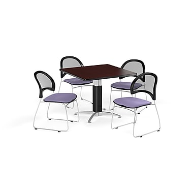 OFM 42 Inch Square Mesh Base Mahogany Table and Four Lavender Chairs (PKG-BRK-176-0034)