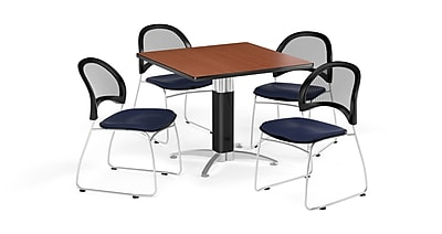 OFM 42 Inch Square Mesh Base Cherry Table and Four Navy Chairs (PKG-BRK-176-0003)