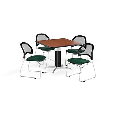 OFM 42 Inch Square Mesh Base Cherry Table and Four Forest Green Chairs (PKG-BRK-176-0015)