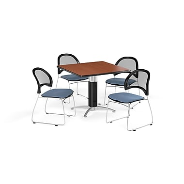 OFM 42 Inch Square Mesh Base Cherry Table and Four Cornflower Blue Chairs (PKG-BRK-176-0006)