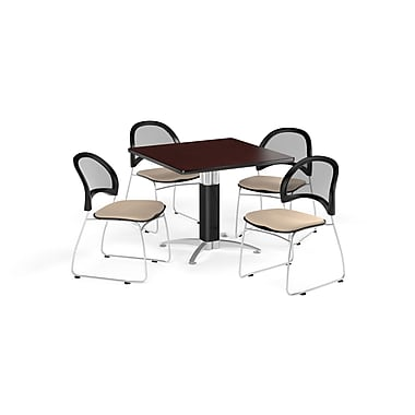 OFM 42 Inch Square Mesh Base Mahogany Table and Four Khaki Chairs (PKG-BRK-176-0041)