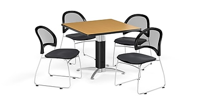 OFM 42 Inch Square Mesh Base Oak Table and Four Slate Gray Chairs (PKG-BRK-176-0060)