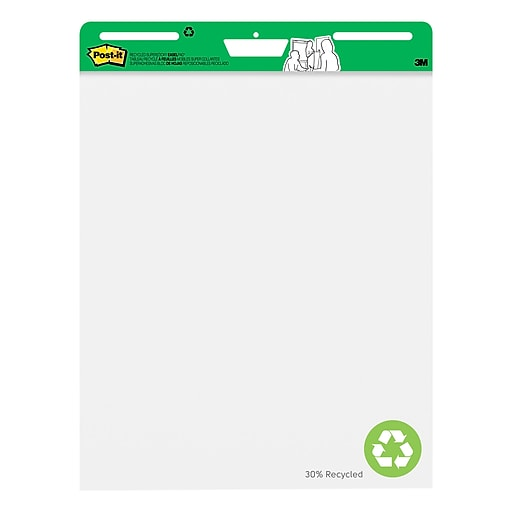 "Post-it® Super Sticky Recycled Easel Pad, 25"" x 30"", White, 30 Sheets/Pad (559-RP)"
