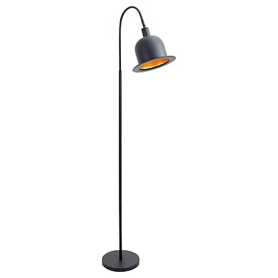 Lumisource Charlie Floor Lamp in Black Metal with Gold Interior Shade (LS-L-CHRLFL BK)