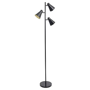 Lumisource Tres Floor Lamp in Black Metal Finish with Gold Interior Shades (LS-L-TRESFL BK)