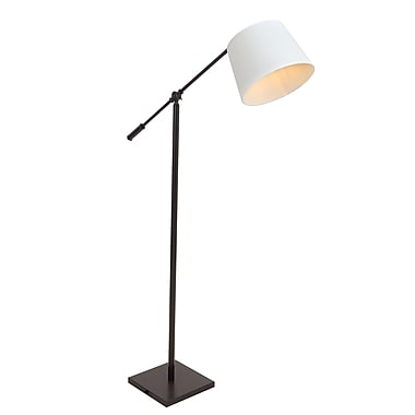 Lumisource Piper Reader Floor Lamp in Antique Finish with Cream Fabric Shade (LS-L-PPR AN+CR)
