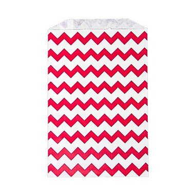 LUX Middy Bitty Bag (5 x 7 1/2) 50/Pack, Red Chevron (MBB-CHEVR-50)