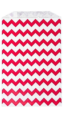 LUX Middy Bitty Bag (5 x 7 1/2) 250/Pack, Red Chevron (MBB-CHEVR-250)