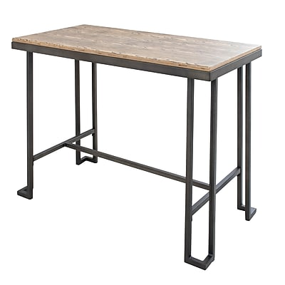 Lumisource Roman Counter Table with Brown Rustic Wood Top and Antique Black Metal Base (CT-RMN AN+BN)