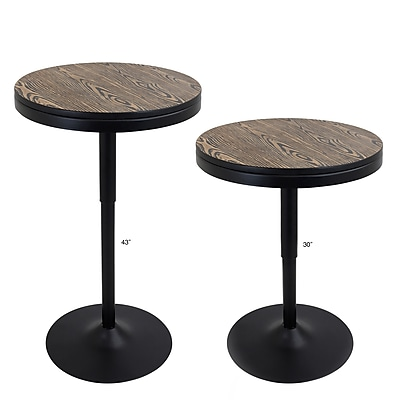 Lumisource Dakota Bar/Dinette Table With Brown Wood Grain Top and Black Metal Base (BT-DAK BK)