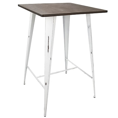 Lumisource Oregon Pub Table in Vintage White and Espresso (BT-OR VW+E)