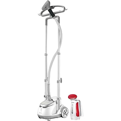 Salav Professional Garment Steamer and Handheld Travel Steamer, Silver/Red