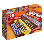 M&M'S, Snickers, Skittles, Starburst & 3 Musketeers Full Size Candy Bars Assorted Variety Box, 56.11 oz, 30 Bars (220-00084)