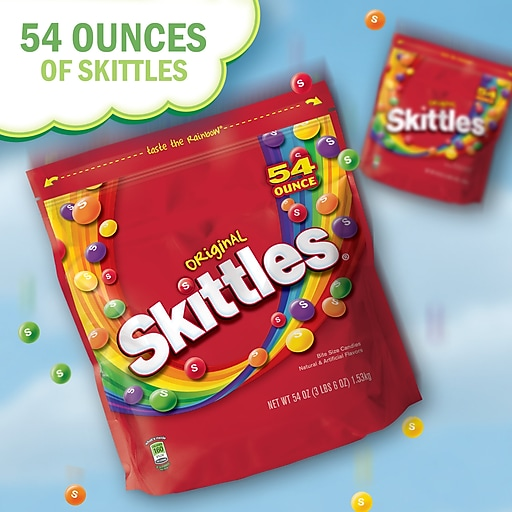 Skittles Original Fruity Candy, 54 oz  Resealable Bag (WMW24552)