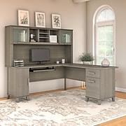 Bush Furniture Somerset 72W L Shaped Desk with Hutch, Ash Gray (SET001AG)